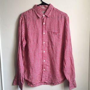 J Crew Slim Fit Gingham Linen Button Shirt Med